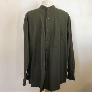 GEOFFREY BEENE collarless shirt chest pocket L